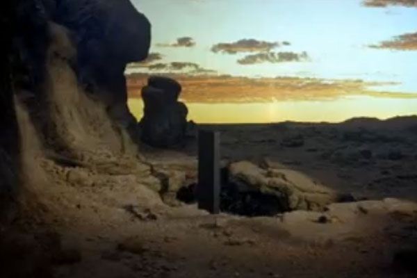 """A monolith placed on Earth by aliens in the classic sci-fi film """"2001: A Space Odyssey."""" Photo by: Metro-Goldwyn-Meyer (MGM) via YouTube / coldshouldermulder"""