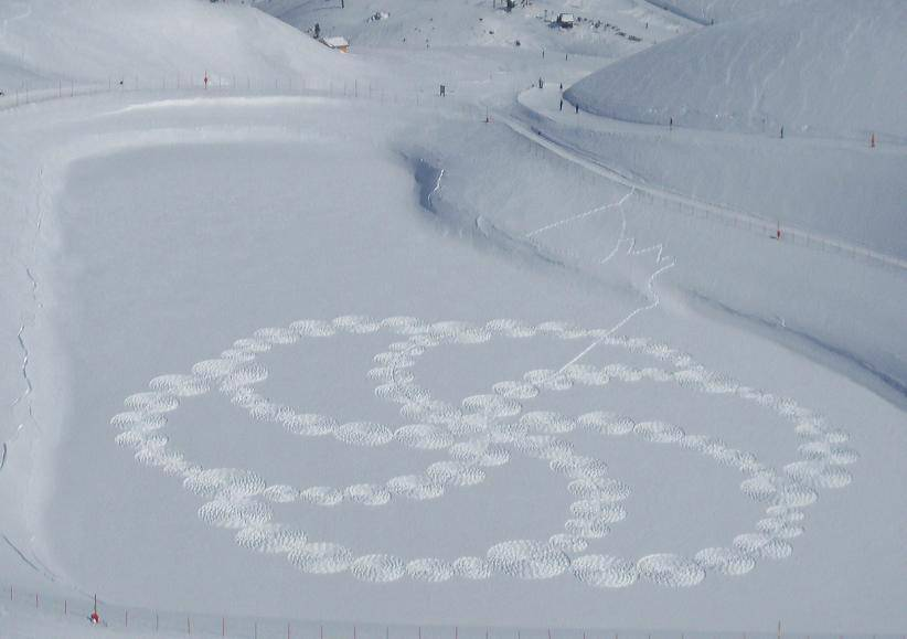 Man Creates Amazing Snow Art Just by Walking? What about crop circles?