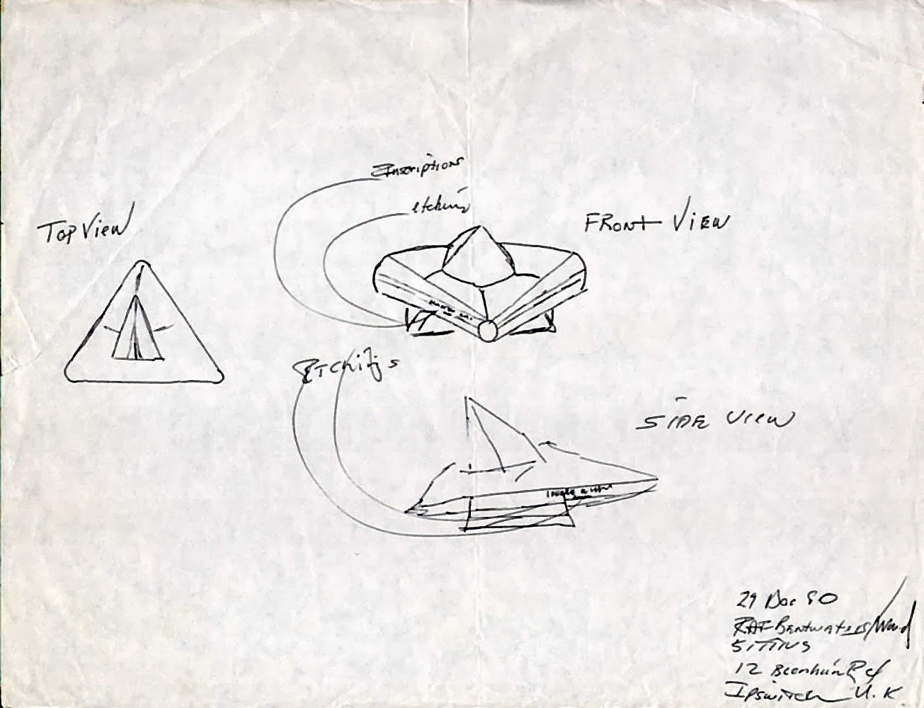 "Jim Penniston's drawing of the Rendlesham ""probe"""