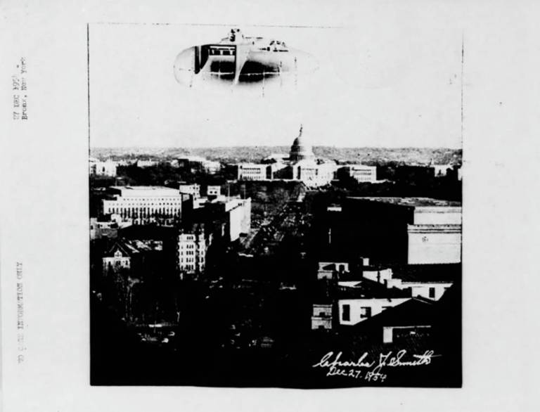This appears to be some kind of submarine flying over the Bronx in 1954. Project Blue Book offers no comment (Picture: Project Blue Book)