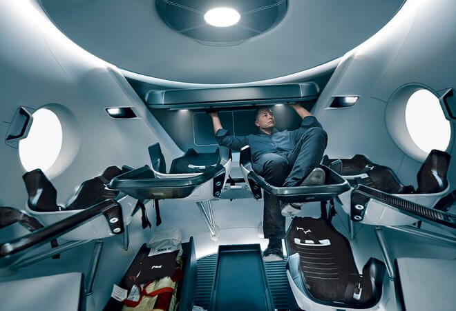 The entrepreneur, photographed in the engineering model of the SpaceX Crew Dragon, the company's first manned craft, due for launch in 2017.