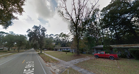 The low flying UFO quickly moved away until it was a tiny point in the sky. Pictured: Gainesville, FL. (Credit: Google)