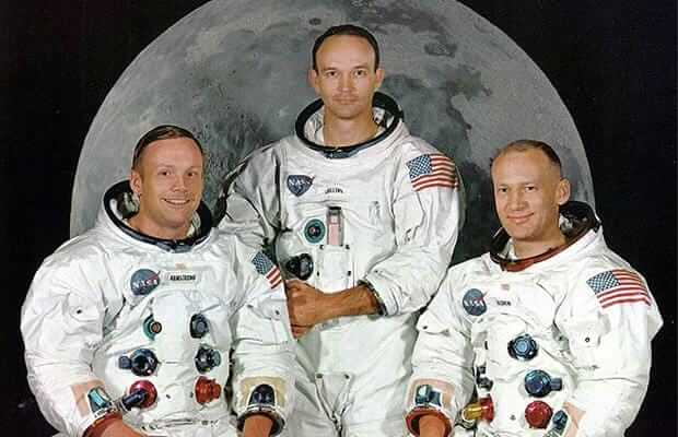 "The Apollo 11 astronauts (L-R) Neil Armstrong, Michael Collins and Edward ""Buzz"" Aldrin"